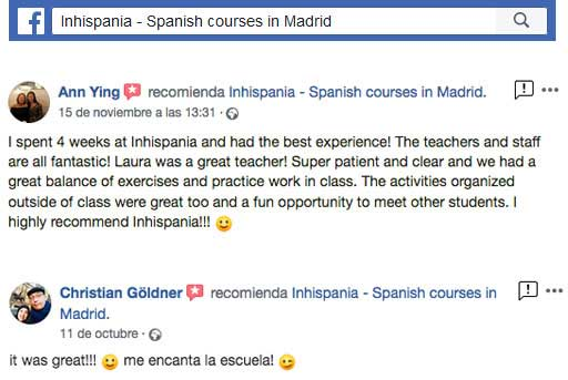 facebook spanish courses reviews